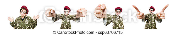 Funny soldier isolated on white - csp63706715