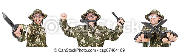 Funny soldier isolated on white - csp67464189