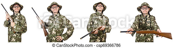 Funny soldier isolated on white - csp69366786