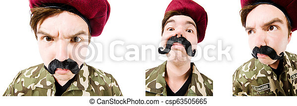 Funny soldier isolated on white - csp63505665