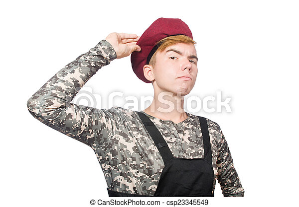 Funny soldier isolated on white - csp23345549
