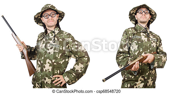Funny soldier isolated on white - csp68548720