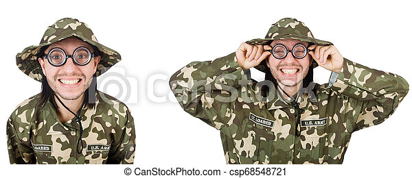 Funny soldier isolated on white - csp68548721