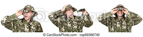 Funny soldier isolated on white - csp69366740