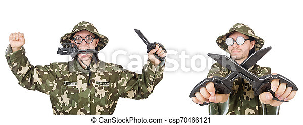 Funny soldier isolated on white - csp70466121