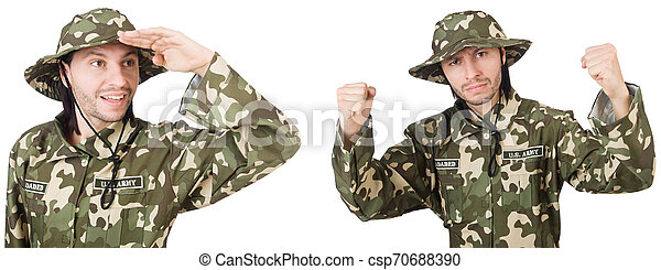 Funny soldier isolated on white - csp70688390