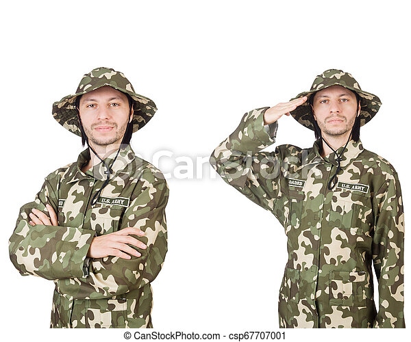 Funny soldier isolated on white - csp67707001
