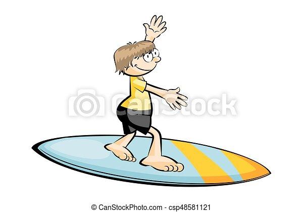 funny surfer isolated on white conceptual vector illustration rh canstockphoto com Cartoon Surfer Cartoon Surfer