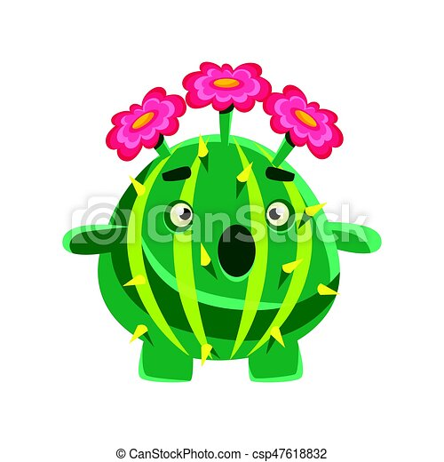Funny surprised succulent with pink flowers cartoon vectors funny surprised succulent with pink flowers cartoon emotions character vector illustration mightylinksfo