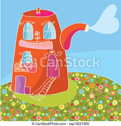 Funny tea illustration with teapot and nature - csp18221900