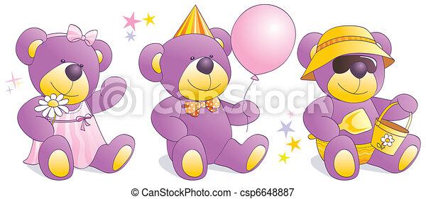 Funny Teddy bears - party, beach, - csp6648887
