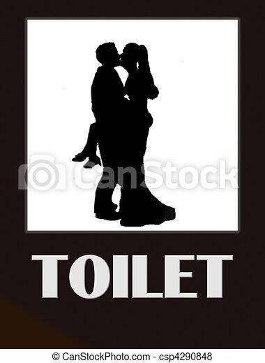 Funny Toilet Sign   csp4290848. Funny toilet sign  Funny male and female bathroom sign black
