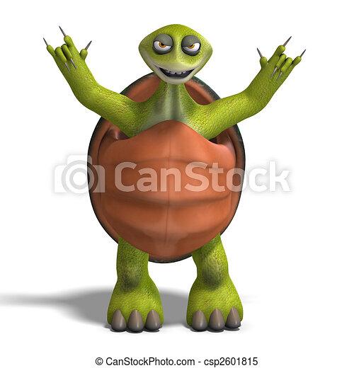 funny toon turtle enjoys life - csp2601815