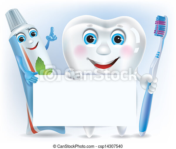Funny tooth, tooth paste and tooth brush with blank - csp14307540