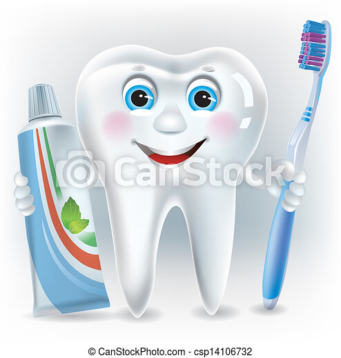 Funny tooth with toothpaste and toothbrush - csp14106732