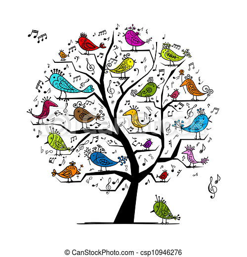 Funny tree with singing birds for your design - csp10946276