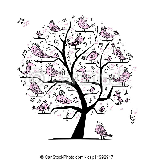 Funny tree with singing birds for your design - csp11392917