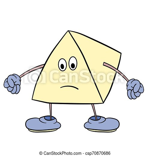 Funny triangle smiley with legs and eyes clenches his hands into fists. Caricature color sketch. - csp70870686