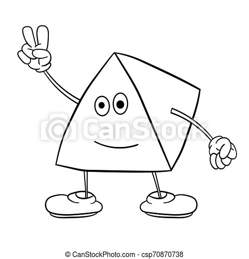 Funny triangle smiley with legs and eyes shows two fingers up. Coloring book for kids. - csp70870738