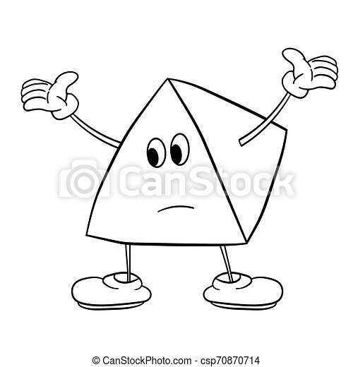 Funny triangle smiley with legs and eyes spreads his arms to the side. Caricature color sketch. Coloring book for kids. - csp70870714