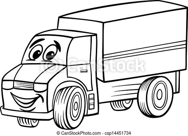 vector funny truck cartoon for coloring book - Coloring Book Truck