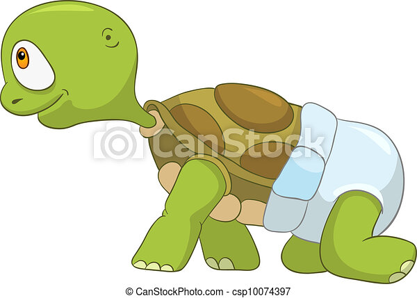 Funny Turtle. Baby First Step - csp10074397
