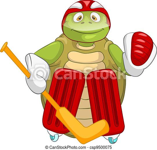 Funny Turtle Hockey Goalie Cartoon Character Funny Turtle Isolated