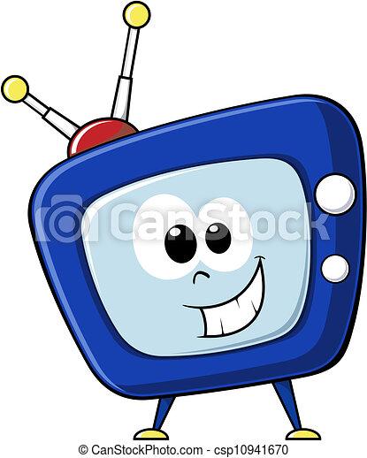 Funny Tv Cartoon Cartoon Tv With Happy Face In Vector Format Very