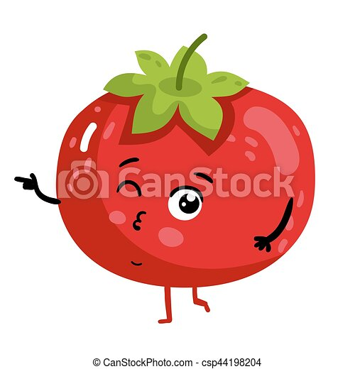 Funny vegetable tomato cartoon character - csp44198204