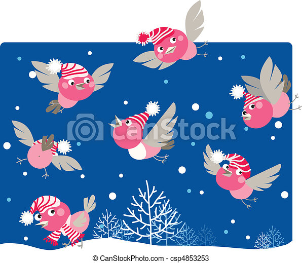 Funny winter birds - csp4853253