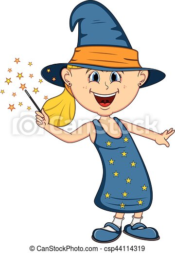 funny witch girl with halloween outfit cartoon full color vector rh canstockphoto ie