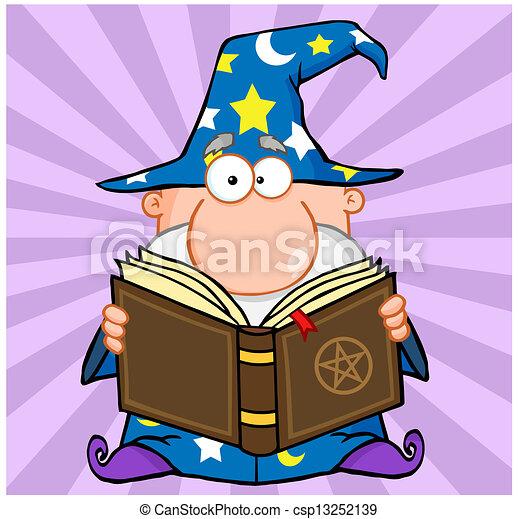 Funny Wizard Holding A Magic Book - csp13252139