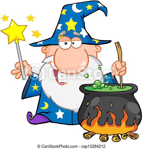 Funny Wizard Preparing A Potion - csp13284212