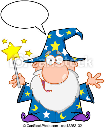Funny Wizard Waving With Magic Wand - csp13252132