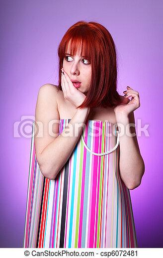 Funny woman in present box. - csp6072481