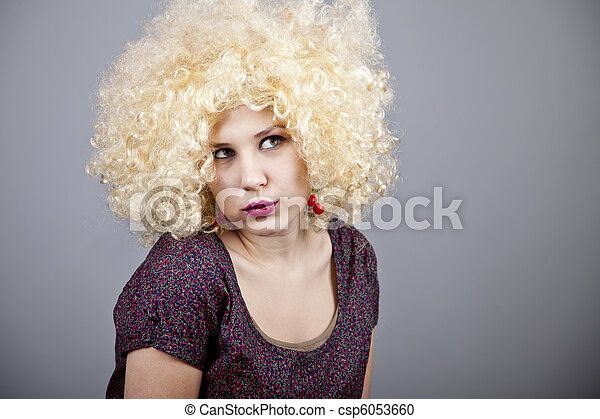 Funny woman in wig. - csp6053660