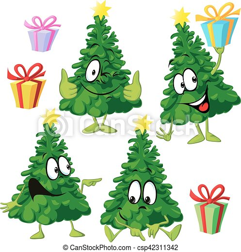 Funny Xmas Tree With Hand And Face Vector Illustration Drawing Cartoon Canstock Red stars and golden balls in the shape of a christmas tree and the inscription merry christmas on a transparent background. https www canstockphoto com funny xmas tree with hand and face 42311342 html