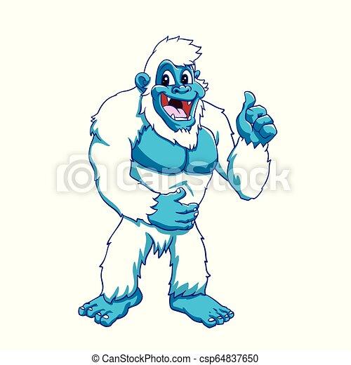 Funny yeti - blue sasquatch cartoon illustration.
