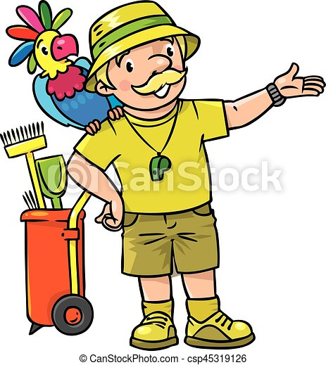 funny zoo keeper with parrot funny zoo keeper or zoologist rh canstockphoto com clip art zoo animal pictures clip art zoo animal pictures