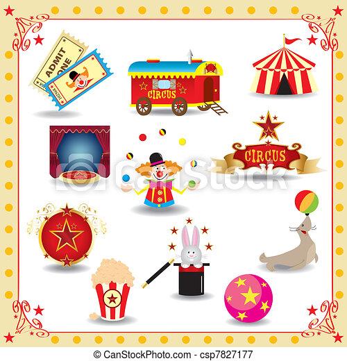 Funy circus icons - csp7827177