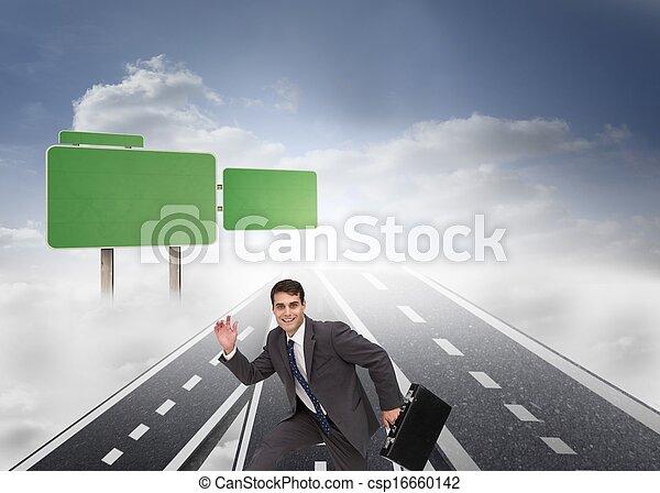 funzionamento uomo affari, cartella, presa a terra, felice - csp16660142