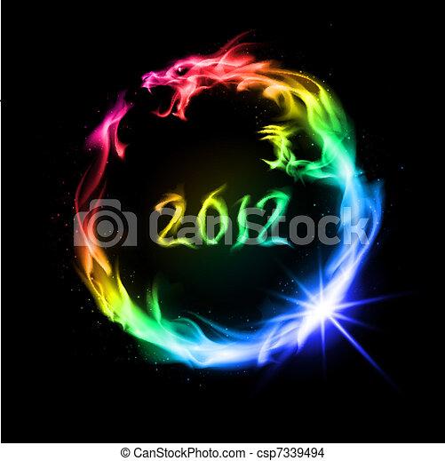 fuoco, arcobaleno, drago - csp7339494