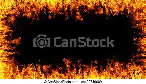 fuoco, backgroudn, nero, astratto, cornice - csp22749009