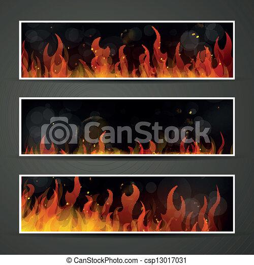 fuoco, bandiere, vettore - csp13017031