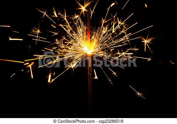 fuoco, bengala, fondo., nero, sparkler, natale - csp23286518