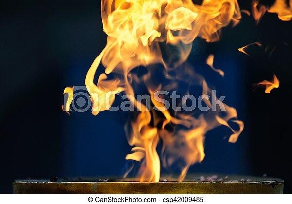 fuoco, blu, aperto, fondo - csp42009485