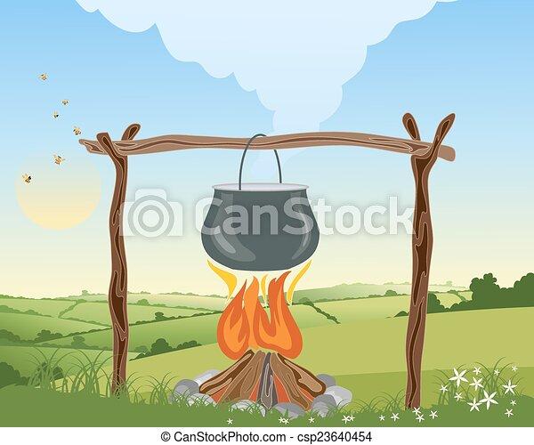 fuoco, campeggiare - csp23640454