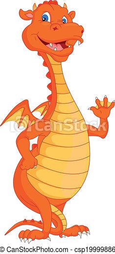 fuoco, carino, ondeggiare, cartone animato, drago - csp19999886