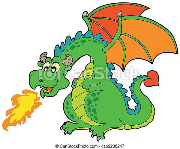 fuoco, cartone animato, drago - csp3208247