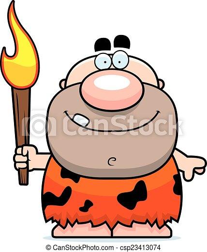 fuoco, caveman, cartone animato - csp23413074
